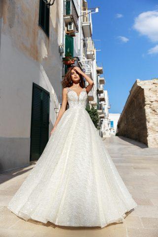 rochie de mireasa tull glitter a line printesa justina 2019 sposa dell amore
